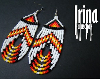 White Native American style beaded earrings Seed bead earrings Fringe earrings Dangle earrings Boho style earrings Native earrings