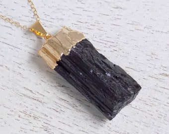 Black Tourmaline Necklace, Boho Jewelry, Raw Tourmaline Necklace, Tourmaline Pendant, Gold Tourmaline Necklace, Layer Necklace Gift, 10-510