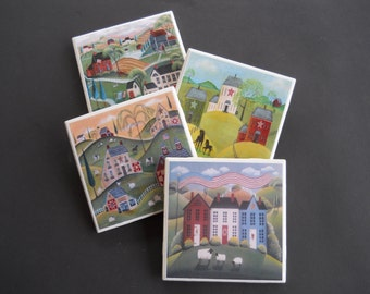 Folk Art Coasters ~ Prim Coasters ~ Primitive Decor ~ Ceramic Tile Coasters ~ Home Decor ~ Housewarming Gift ~ Shower Gift ~ Drink Coasters