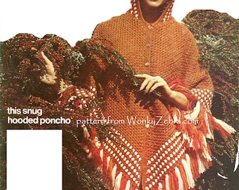 Vintage Crochet Pattern retro hooded poncho hoodie cosy fringed buttoned poncho  hooded cape PDF 844  from WonkyZebra