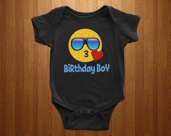 412bfacce4 Personalized Funny Birthday Boy Emoji Kiss Heart with Shades ... INSPI Tees  Ladies ...