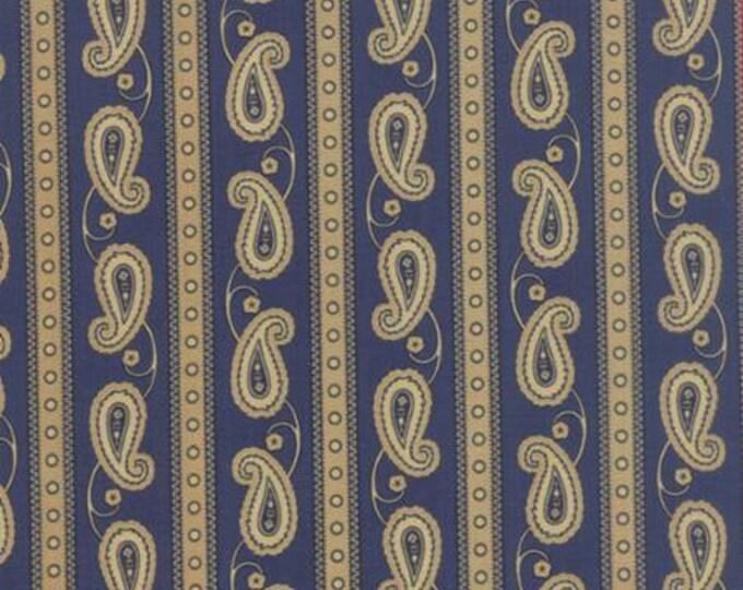 Polka Dots and Paisleys Paisley Stripe Blue - 1/2yd