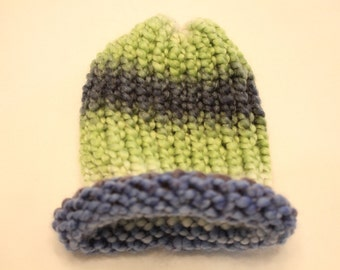 Blue, White, and Green Handmade Baby Winter Hat