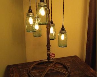 Large Vintage Ball Jar Pendant Lamp