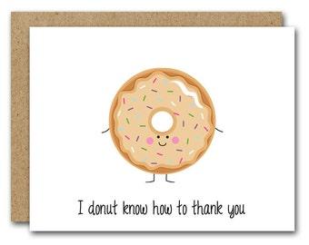 PRINTABLE Donut Thank You Card, INSTANT DOWNLOAD, Funny Thank You, Donut Card, Donut Greeting Card, Pun Card, Humorous Card, Doughnut Card