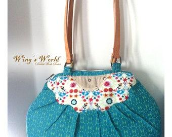 Bird Pattern Should Bag, Green Bag, Hobo Bag, patchwork, Bird Tote, Leather Bag, Romantic Birds Bag