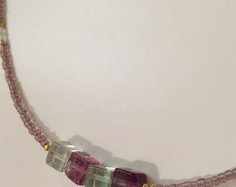Cube flourite necklace