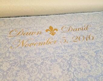 Custom wedding aisle runner with ICON, custom wedding decor, SHEER floral print fabric