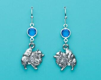 Pomeranian Dog Earrings, Pomeranian Earrings, Sapphire Crystal Pomeranian Earrings, Animal Earrings, Dangle Earrings, Gifts for Her, 291