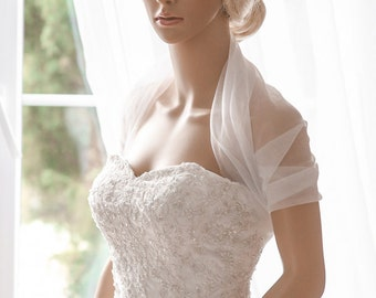 "Bridal Wrap, Wedding Cover Up, Wedding Shrug, Bridal Bolero in silk, tulle white or ivory bridal shawl. Can be worn two ways! ""Selin"""