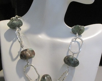 Raw Emerald Necklace Sterling Silver on Handmade Chain