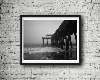 Beach, black and white, pier photo, Tybee Island, GA, costal wall art