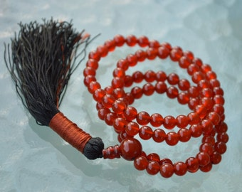 Buddhist Mala Orange Jade Prayer Beads, 108 Handmade Mala Necklace, Japa Beads for Energetic mind, Manifestation, Creativity