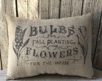 Linen Pillow Handmade Farmhouse Garden Spring Home Decor