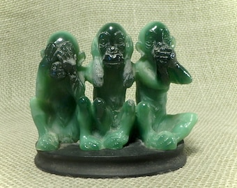 A Santini Sculpture Three Wise Monkeys - See No Evil, Hear No Evil, Speak No Evil - Signed Incised