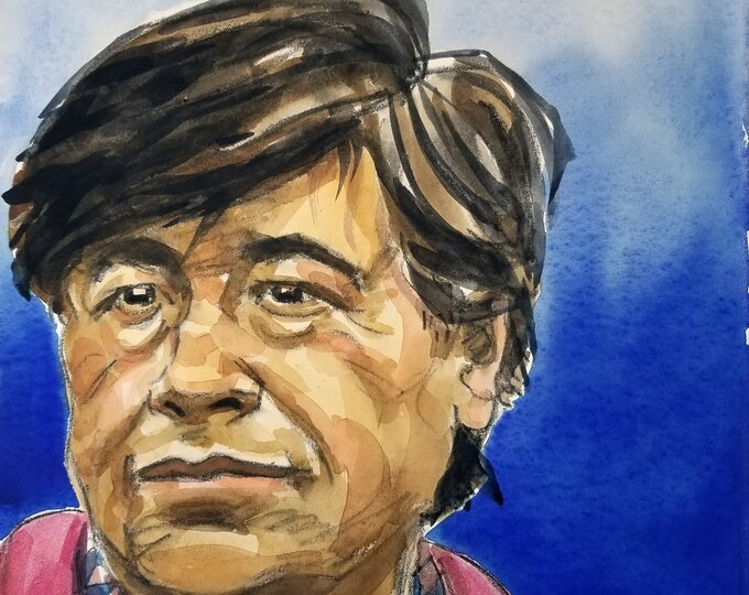 Cesar Chavez, 11x14 inches,  watercolor on cotton paper by Kenney Mencher