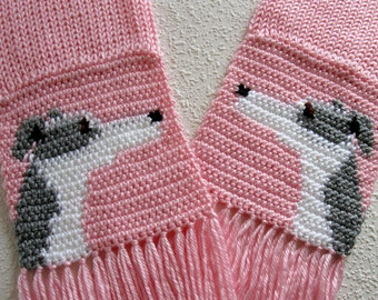 Greyhound dog scarf. Knit and crochet pastel pink scarf with gray and white greyhounds. Knit dog scarf. Greyhound gift