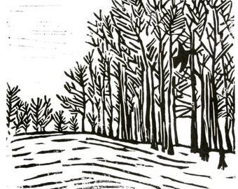 "bird in forest linoleum block print - 9"" x 12"" wall art"