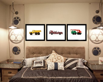 Three Vintage Toy Trucks on White Photo Prints, Rustic Decor, Boys Nursery, Toy Trucks