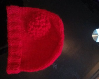 3 -6 months hat - Deep red with matching flower - girl