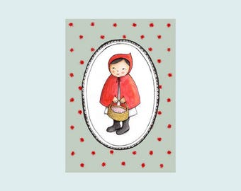 Little Red Ridinghood, illustrated card, postcard