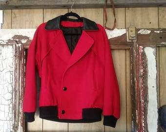 Saxton Hall 1980s Vintage Red Wool Jacket with Fake Black Leather Collar.  Triangle Accents on back. Womans Size Small.