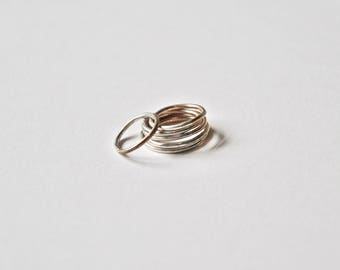 The Halfsies Ring / Delicate Solid Brass and Silver / Minimal / All sizes