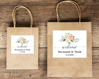 Wedding Welcome Bag Label Template, Printable Welcome Box Labels, Editable Welcome Favor Labels, 2 Sizes Included, Peach Blush