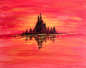 Golden Red Orange Yellow Sunset Trees silhouette Seascape Christmas sale acrylic painting canvas art Water Ocean Sea reflection Wall decor