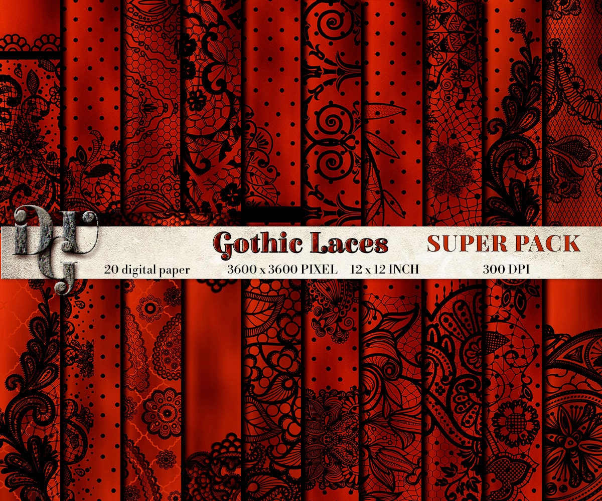 GOTHIC LACES Digital Paper 20 digital sheets Black Lace on Red Silk ...