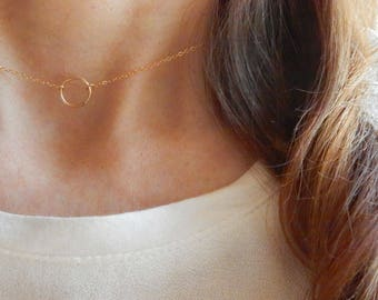 Circle ring choker, Gold choker necklace, Circle necklace, Layering choker necklace