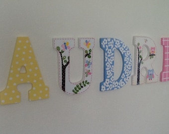 Custom Painted Little Girl's Wall Letters- Hayley / Birds / Owls