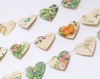 Heart garland, paper hearts, wedding decor, heart bunting, Spring banner, birthday decor