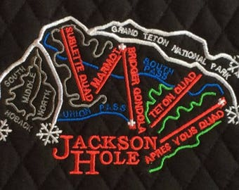 Jackson Hole Wyoming Ski Trail Map Embroidery Design File - multiple formats - instant download - BONUS - tips for making a cosmetic bag