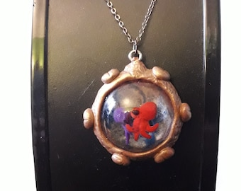 Waltz of the Octopus and jellyfish polymer clay and resin Crystal