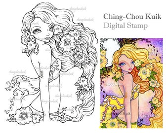 Spring In the Air - Digital Stamp Instant Download / Flower Shawl Mermaid Fairy Fantasy Art by Ching-Chou Kuik