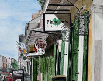 French Quarter Art Print - Voodoo and Irish Pub, New Orleans 5 -  Street Scene