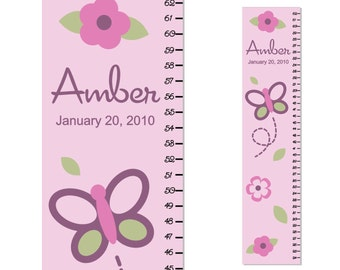 Growth Chart Children Canvas Growth Chart Butterfly and Flowers Personalized