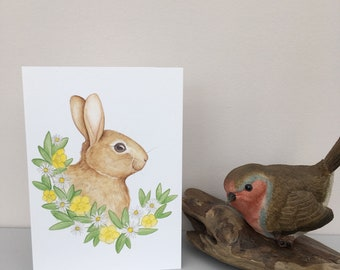 Floral rabbit blank greeting card, a6 size, watercolour bunny design, blank inside, with white envelope.