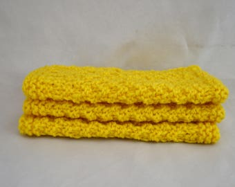 Yellow Knit Washcloths, Knitted Coasters, Cotton Washcloths, Set of 3 Washcloths, Knitted Dishcloths, Mothers Day Gift Idea