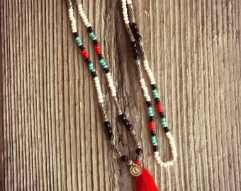 Tassel necklace, necklace Indian necklace Turquoise necklace Native American, ethnic necklace, ethnic necklace, bohemian necklace, boho necklace