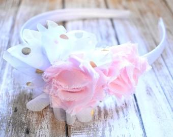 Pink Floral Headband, Flower Headband, White Headband, Adult Headband, Polka Dot Headband, Shabby Flower Headband
