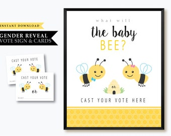 Bee 'Baby Bee Gender Reveal' Theme *Printable Voting Station Card* Vote Boy or Girl // Gender Reveal Voting Card // Sign // INSTANT DOWNLOAD