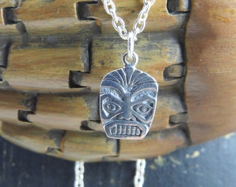 Sterling Silver Tiki Mask necklace, tiki face mask, tiki mask, Hawaiian  mask, Polynesian Mask, mask necklace,