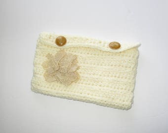 Cream Crochet Clutch with Cream Lining, Two Button Closure and Burlap Flower Embellishment