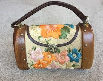 Raffia Embroidered Flowers Purse Bag 1960