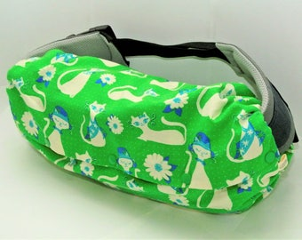 Green cats/dots-Baby carrier storage cover(reversible), drool pads, bib for Ergo baby. Beco, Lillebaby, Boba, Tula, Onya - gift for new mom