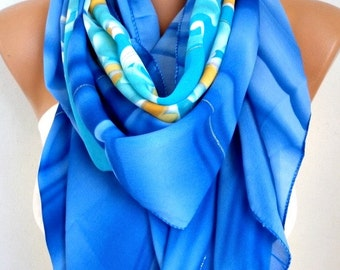 Blue Tones Floral Print Chiffon Scarf,Spring Shawl,Pareo, Big Size,Women Scarves Gift Ideas For Her Women Fashion Accessories,Birthday Gift