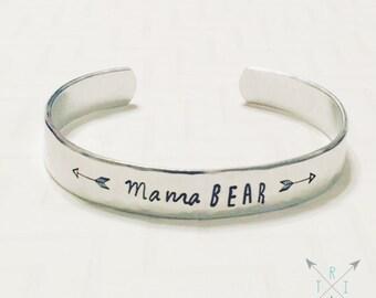 Mama Bear Bracelet - Hand Stamped - Personalized Bracelet - Arrow Bracelet - Silver Bangle Bracelet - Stacking Bracelet - Christmas Gift