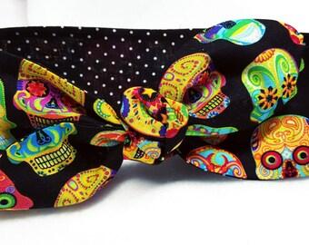 Sugar Skulls Headwrap,Rockabilly,Dolly Bow,Day of the Dead,Top Knot,Retro,Dolly Bow, head wrap,Skull headband